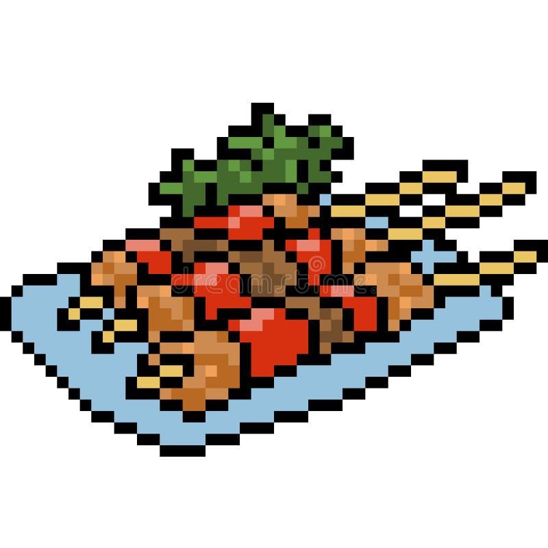 Wektorowej piksel sztuki grilla karmowy set ilustracja wektor