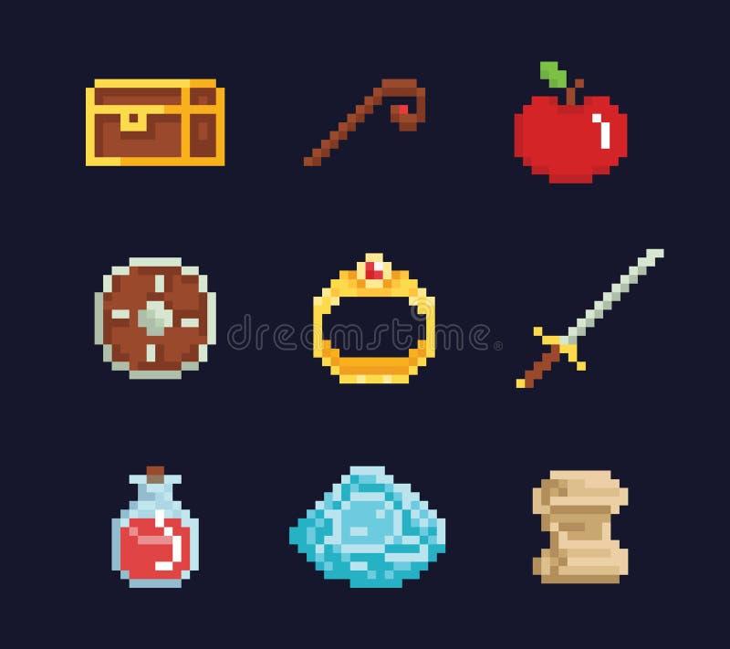 Wektorowej piksel sztuki ilustracyjni isons dla fantazi przygody gemowego rozwoju, magia personel, kordzik, jedzenie, klatka pier royalty ilustracja