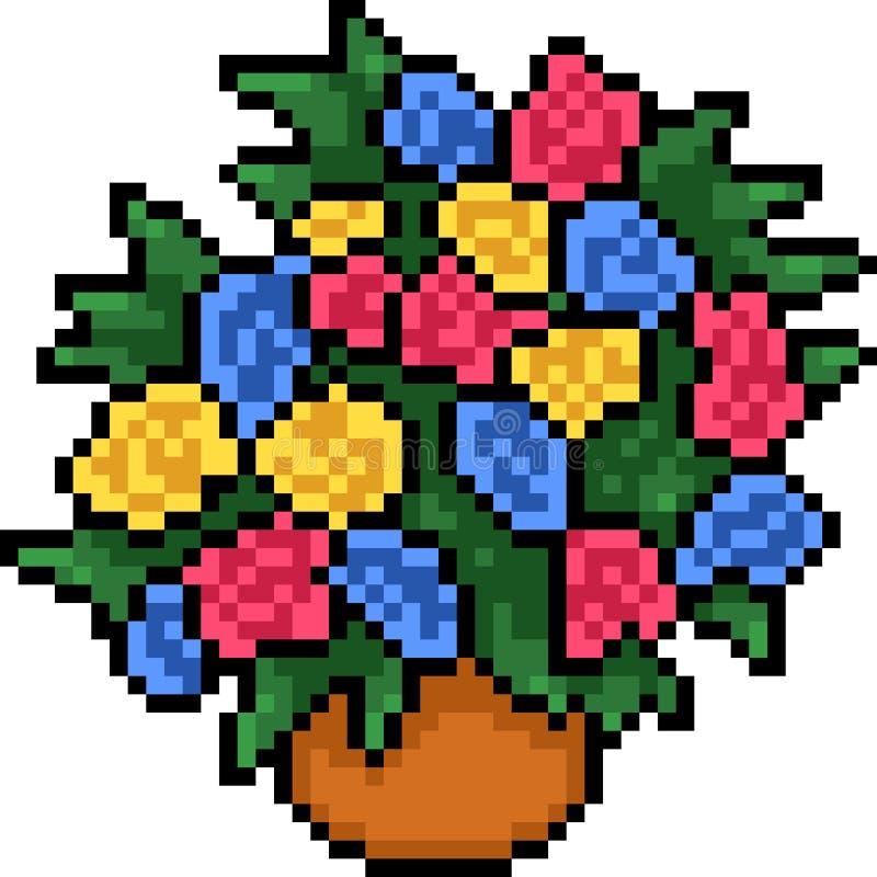 Wektorowej piksel sztuki kwiatu kolorowy garnek ilustracja wektor