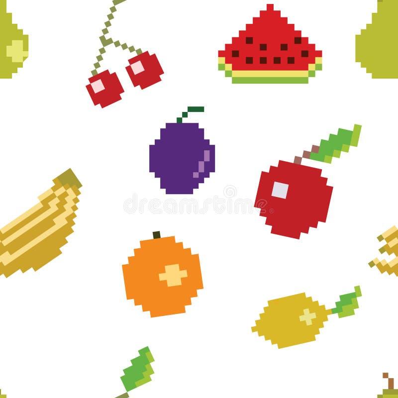 Wektorowej piksel sztuki Owocowy Bezszwowy wzór ilustracja wektor