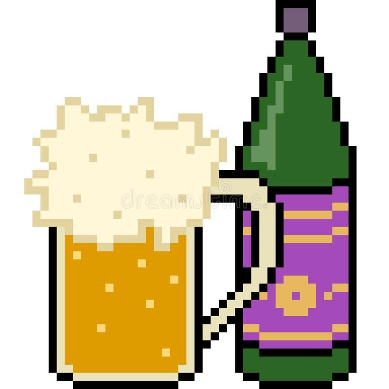 Wektorowej piksel sztuki piwny napój royalty ilustracja