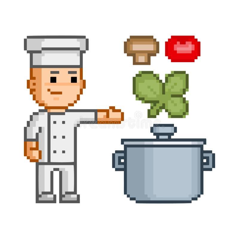 Wektorowej piksel sztuki uśmiechnięty kucharz royalty ilustracja