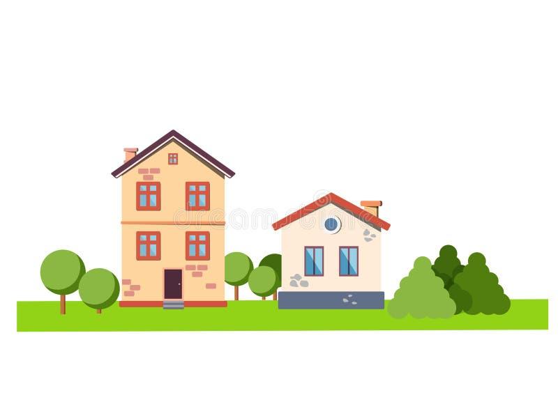 Wektorowej podmiejskiej dom na wsi nieruchomości mieszkania zewnętrzny styl Eco gospodarstwo rolne, gest dom dla czynszu Płaska w obraz stock
