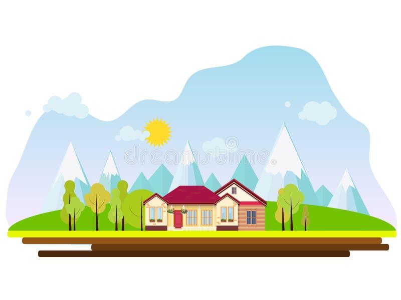 Wektorowej podmiejskiej dom na wsi nieruchomo?ci mieszkania zewn?trzny styl Eco gospodarstwo rolne, gest dom dla czynszu P?aska w zdjęcia stock