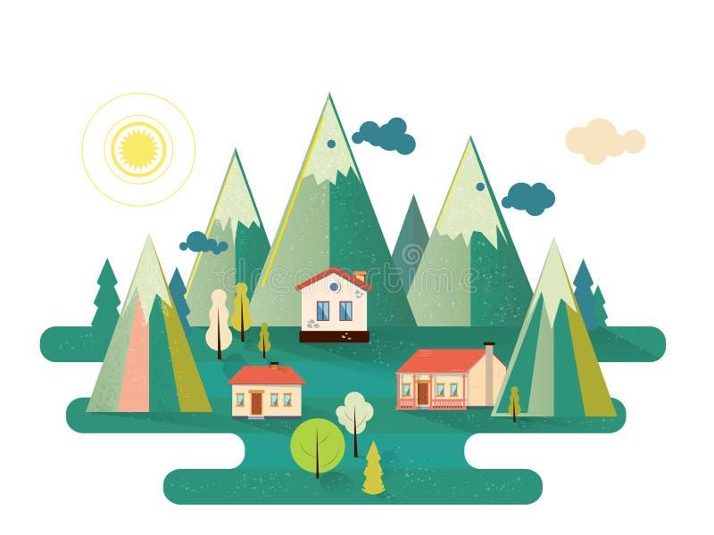 Wektorowej podmiejskiej dom na wsi nieruchomo?ci mieszkania zewn?trzny styl Eco gospodarstwo rolne, gest dom dla czynszu P?aska w obraz stock