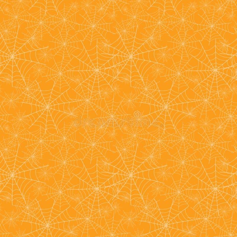 Wektorowej pomarańczowej spiderweb tekstury powtórki wzoru Halloweenowy bezszwowy tło Wielki dla strasznej tkaniny, tapeta ilustracja wektor