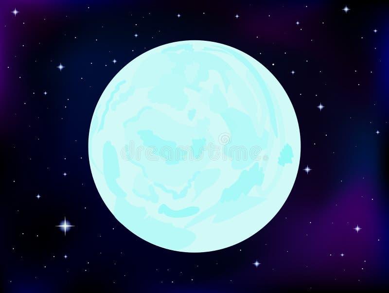 Wektorowej przestrzeni ilustracja z księżyc w pełni na kosmosie i gwiaździstym nieba tle ilustracji