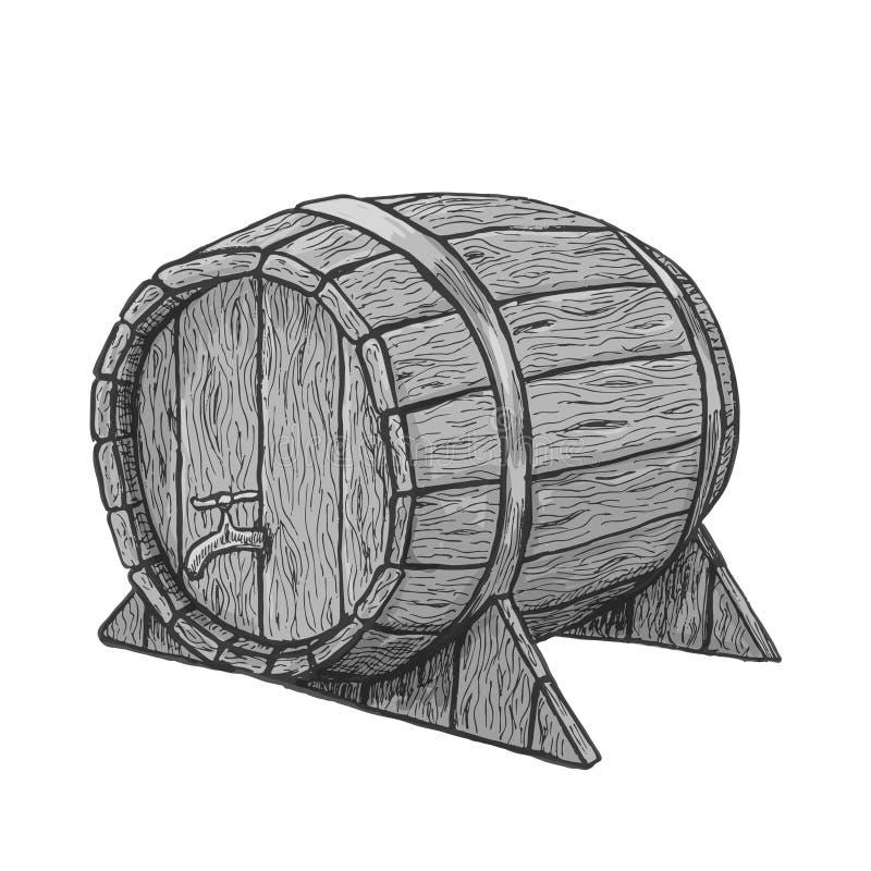 Wektorowej ręki drewna rysunkowa baryłka w białym tle ilustracja wektor