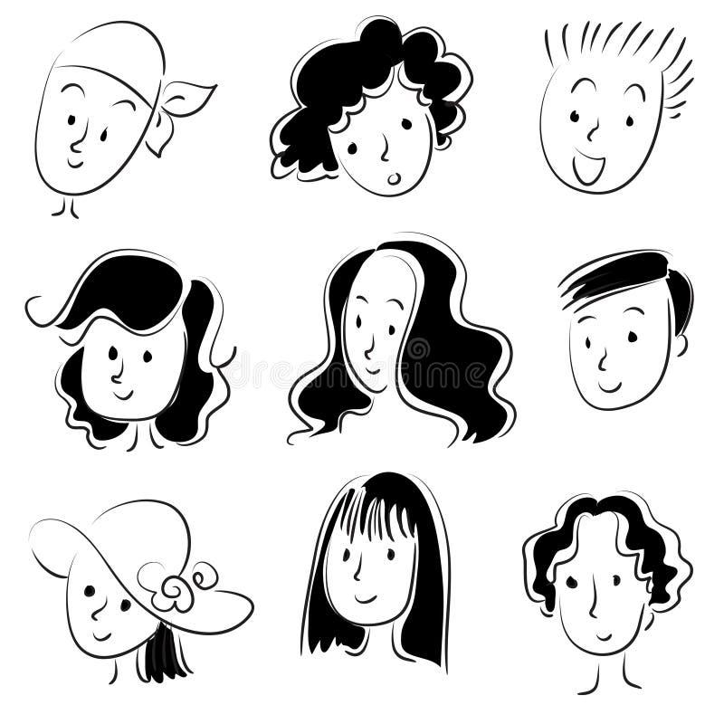 Wektorowej rysunek twarzy ustalona kreskówka