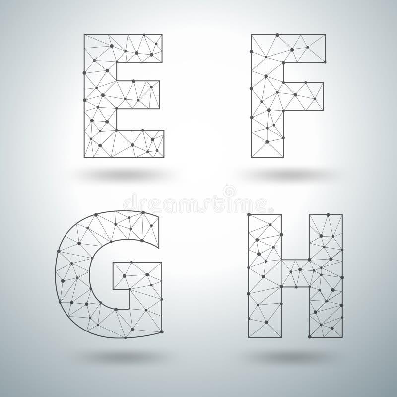 Wektorowej siatki elegancki abecadło pisze list E F G H ilustracji