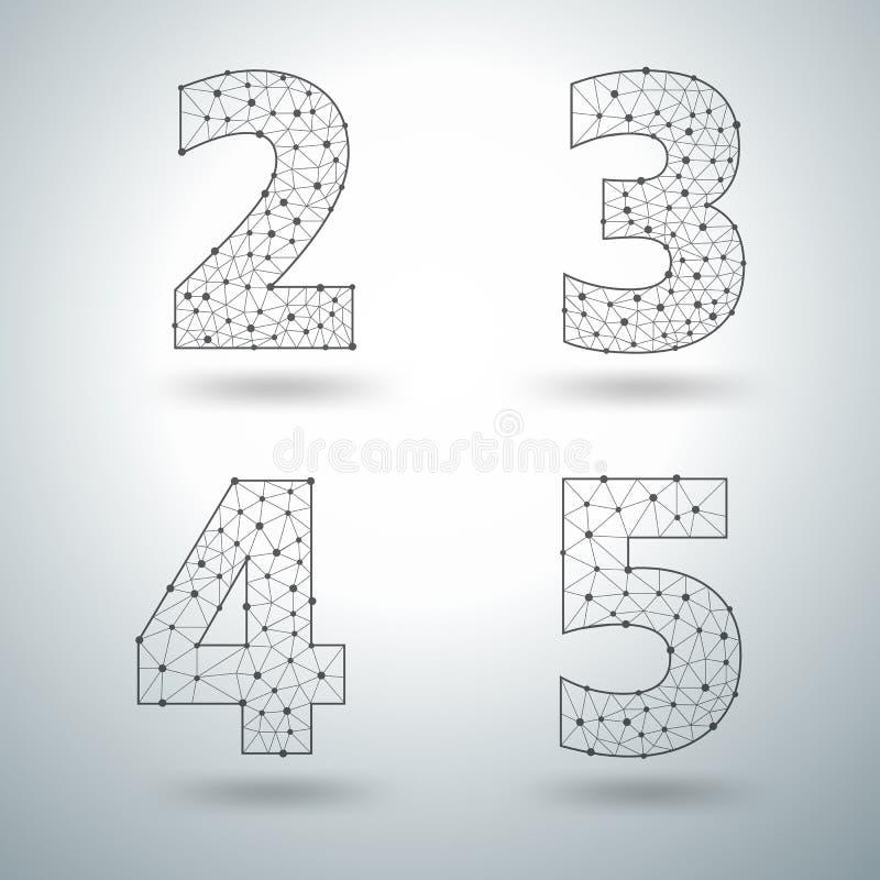 Wektorowej siatki elegancki abecadło pisze list liczby 2 3 4 5 ilustracji