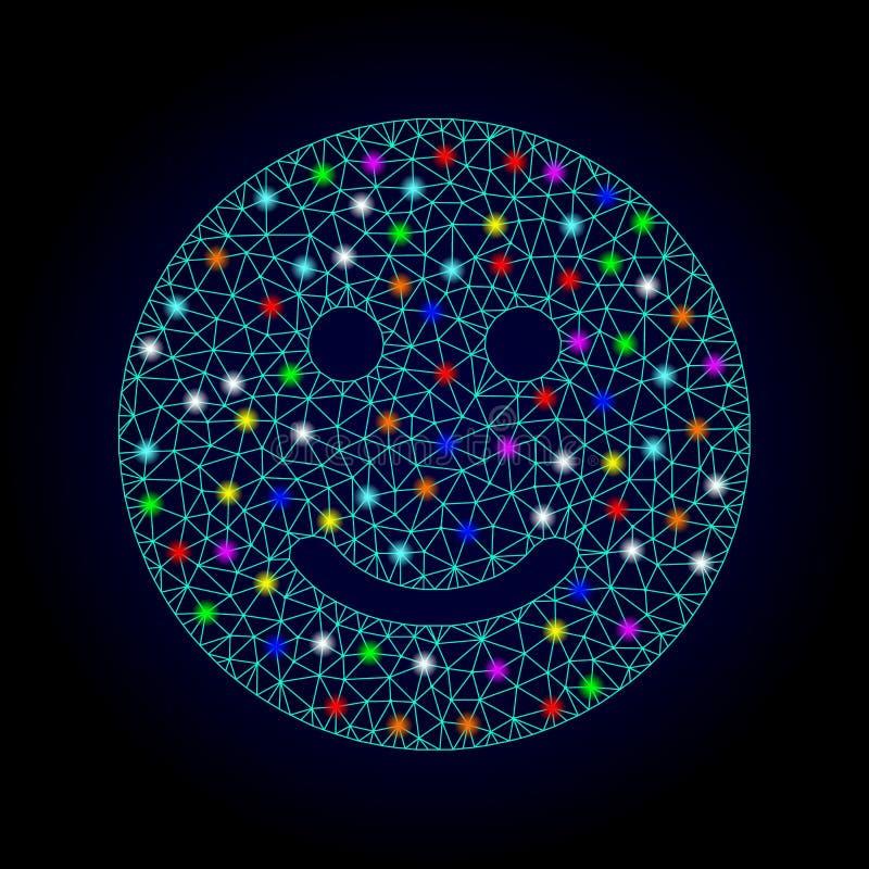 Wektorowej sieci siatki Uradowany Smiley z świecenie punktami dla Chistmas ilustracja wektor