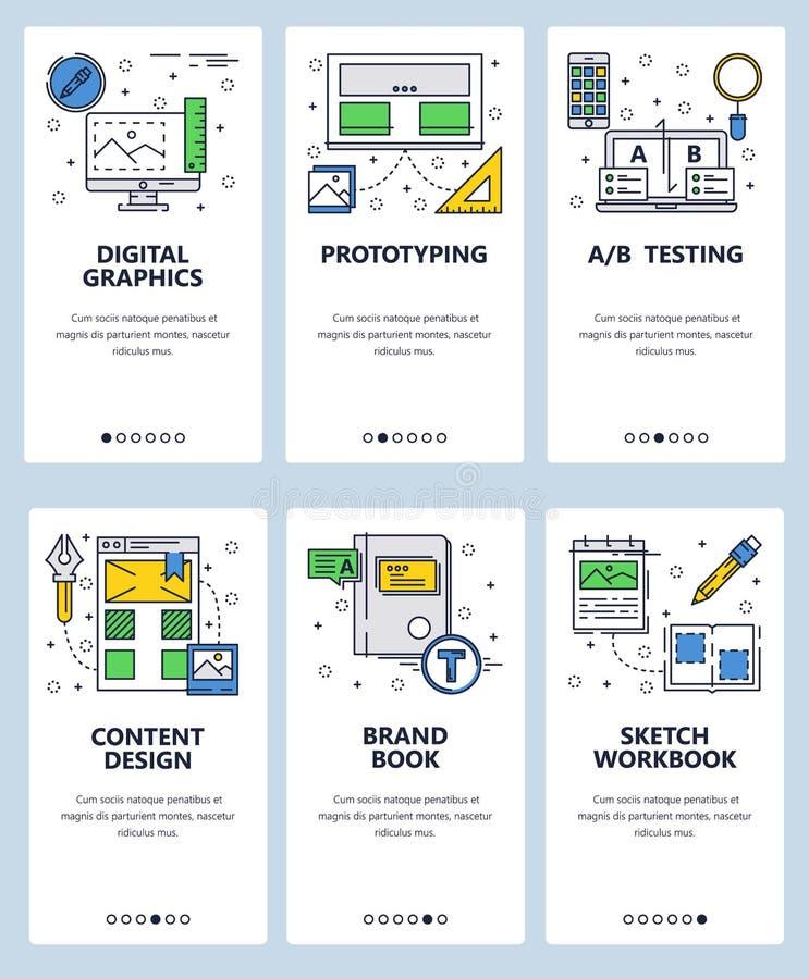 Wektorowej strony internetowej liniowej sztuki ekranów onboarding szablon Cyfrowego grafika, projekt i oznakować, Menu sztandary  ilustracja wektor