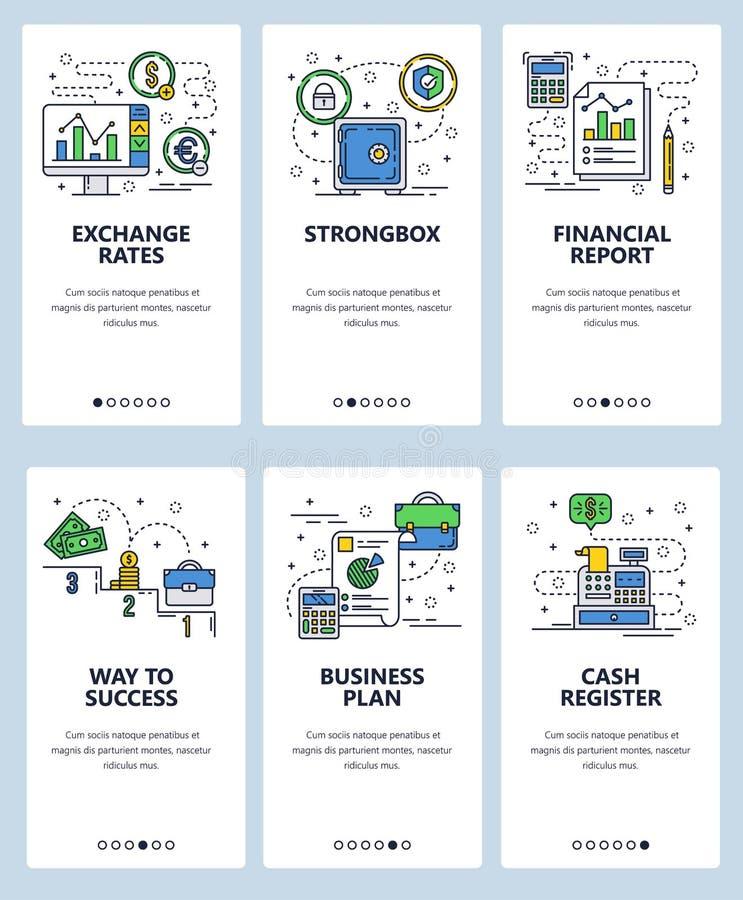 Wektorowej strony internetowej liniowej sztuki ekranów onboarding szablon Finanse, pieniądze i wymiana walut tempo, Plan biznesow ilustracja wektor