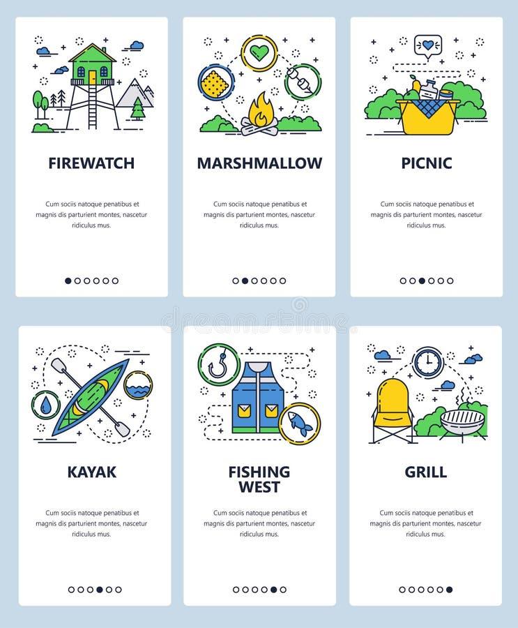 Wektorowej strony internetowej liniowej sztuki ekranów onboarding szablon Plenerowe campingu, pinkinu i sporta aktywność ikony, p ilustracja wektor