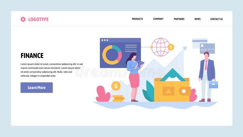 Wektorowej strony internetowej projekta gradientowy szablon Biznesu i finanse konsultować Pieniądze inwestycja w rynek papierów w ilustracji