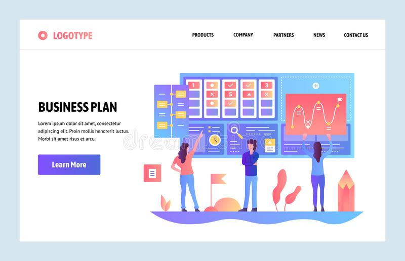 Wektorowej strony internetowej projekta gradientowy szablon Planu biznesowego i marketingu deska rozdzielcza Desantowi stron poję royalty ilustracja