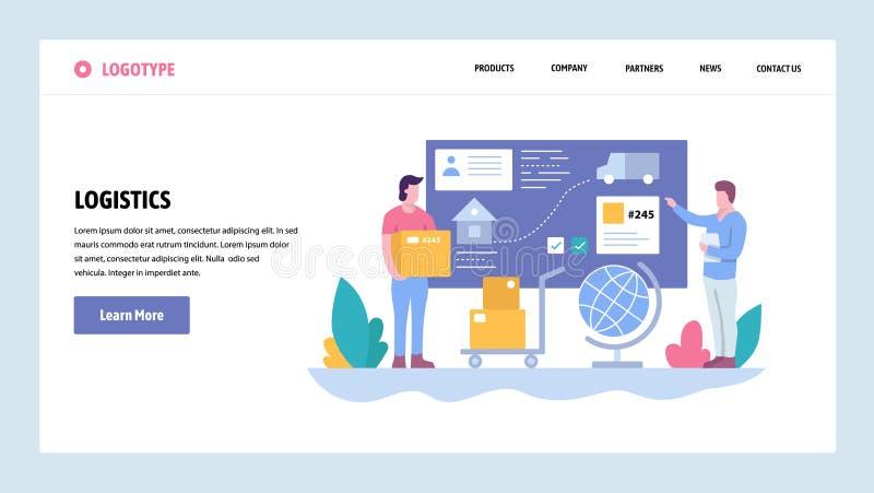 Wektorowej strony internetowej projekta gradientowy szablon Tropić i doręczeniowa usługa Pakunek wysyłka Desantowi stron pojęcia  ilustracji