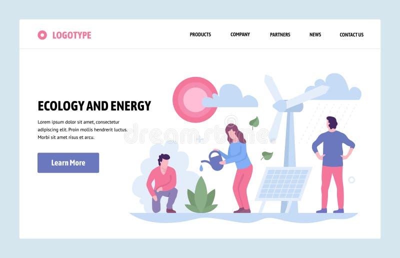 Wektorowej strony internetowej sztuki projekta liniowy szablon Źródło alternatywne energia Desantowa strony ekologia i energia -  royalty ilustracja