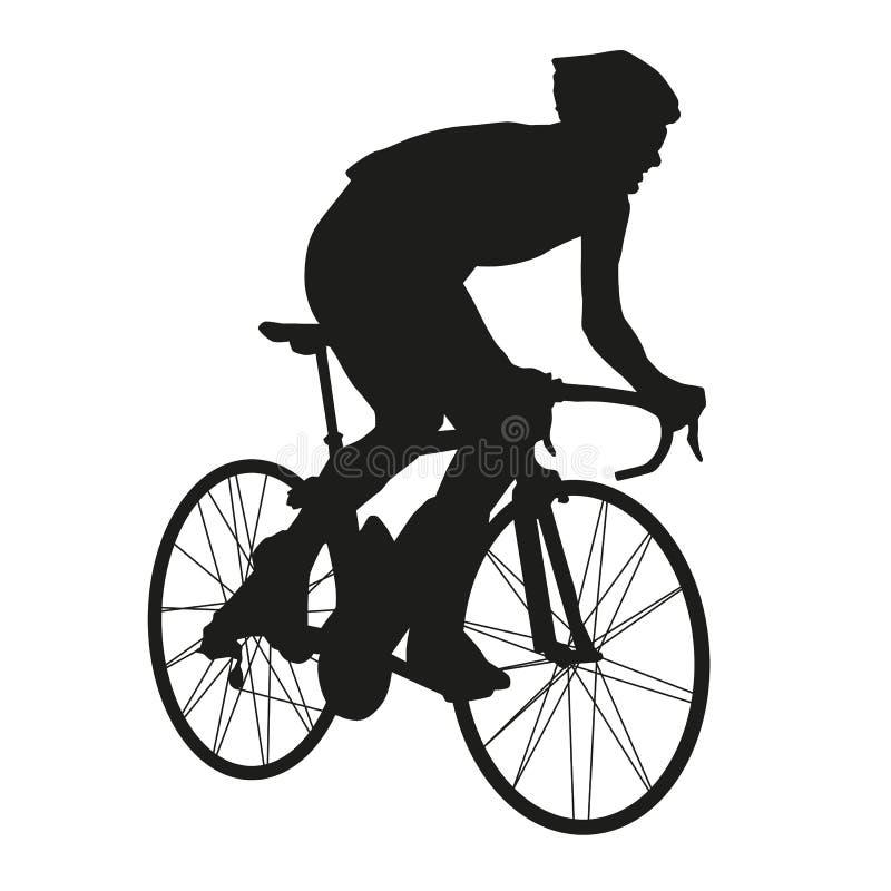 Wektorowej sylwetki cyklistów drogowy setkarz ilustracji