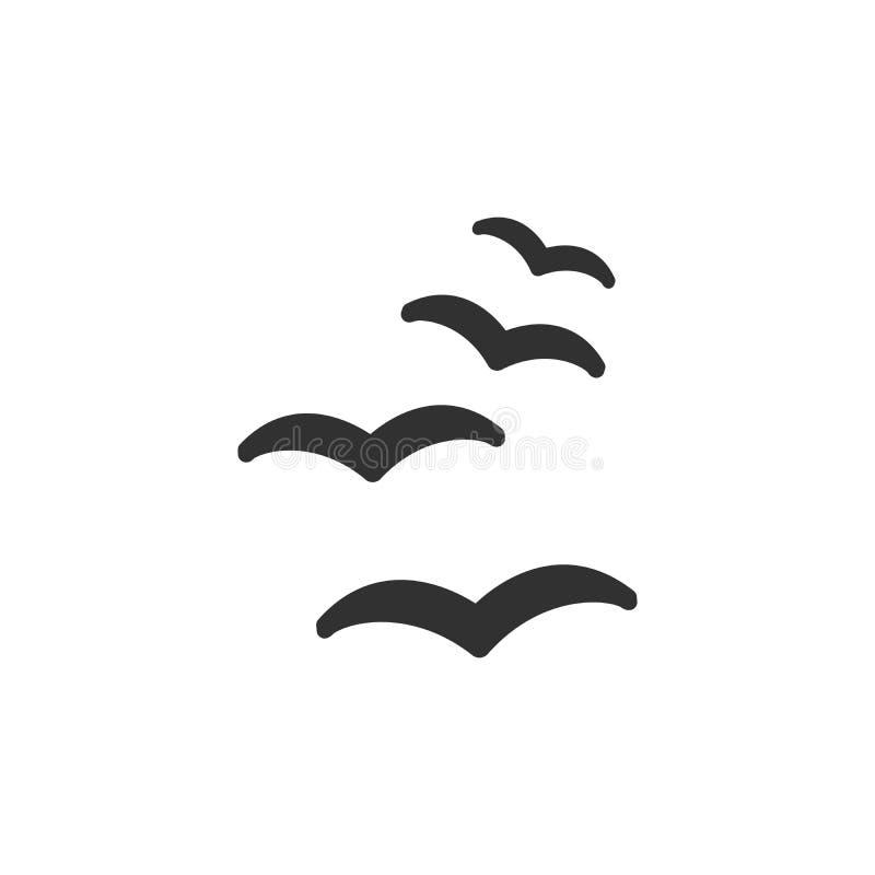 Wektorowej sylwetki latający ptaki na białym tle ilustracja wektor