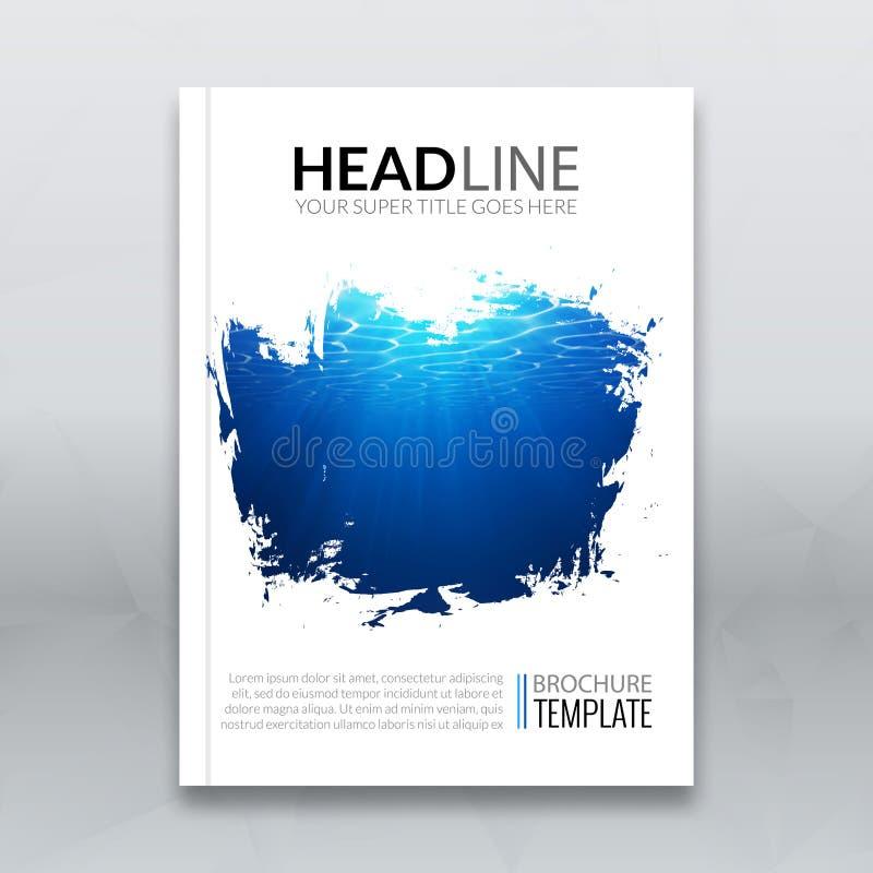 Wektorowej ulotka raportu broszurki okładkowego szablonu mockup plakatowy układ z podwodnym blye tłem w pluśnięcie ramie ilustracja wektor