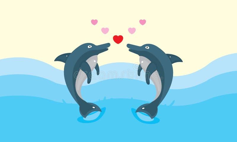 Wektorowej walentynki delfinu Zwierzęca miłość royalty ilustracja