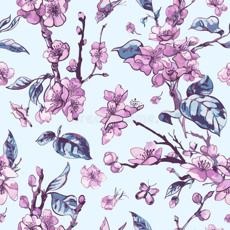 Wektorowej wiosny bezszwowy wzór, rocznika kwiecisty bukiet z menchiami royalty ilustracja