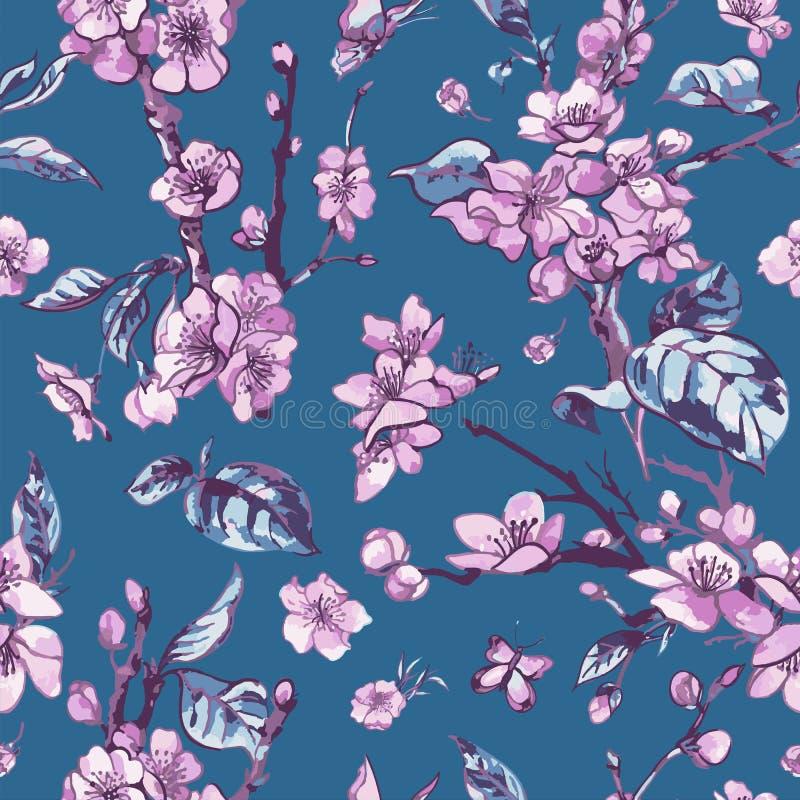 Wektorowej wiosny bezszwowy wzór, rocznika kwiecisty bukiet z menchiami ilustracji
