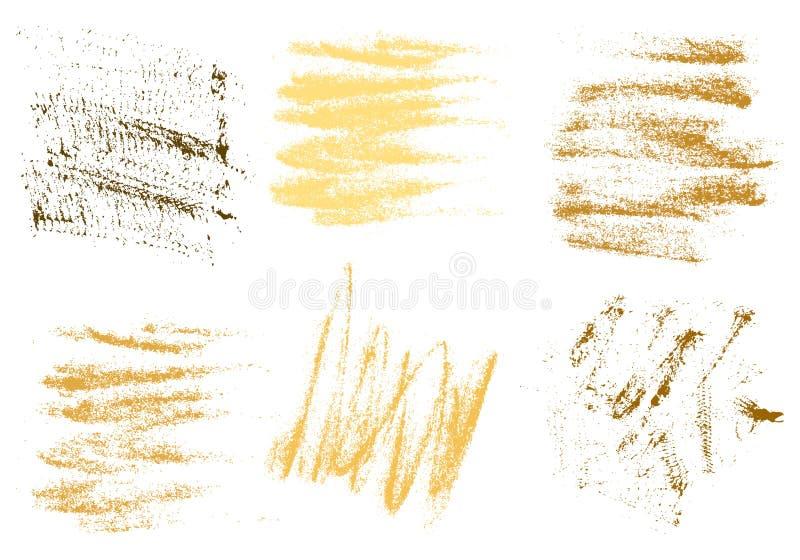 Wektorowej złocistej węgiel drzewny ręki rysunkowy abstrakt na białym tle s ilustracji