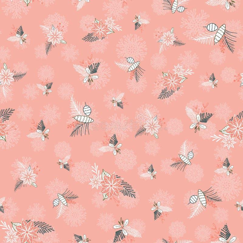 Wektorowej zimy Bożenarodzeniowy ulistnienie ornamentuje bezszwowego wzór Elegancki pastelowy retro doodle stylu sezonu wakacyjne ilustracji
