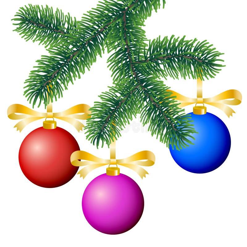 Wektorowej zimy iglasta gałąź dekorował z kolorowymi boże narodzenie ornamentami na białym tle ilustracja wektor