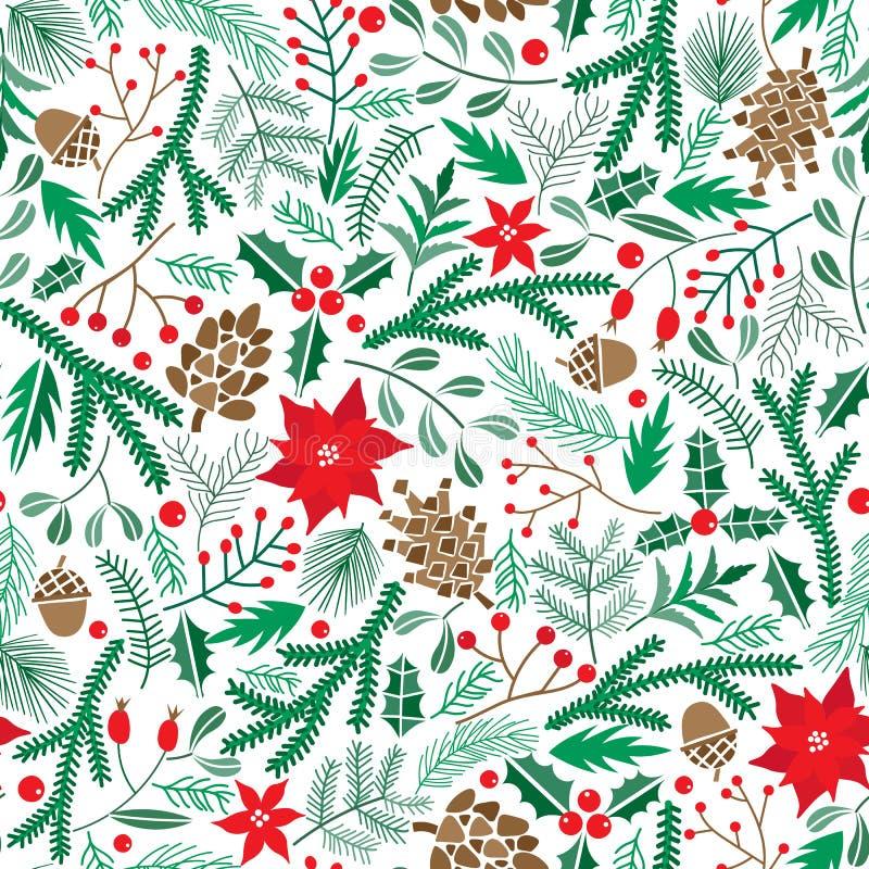 Wektorowej zimy kwiecisty bezszwowy wzór Bożenarodzeniowy poinsecja kwiatu tło royalty ilustracja