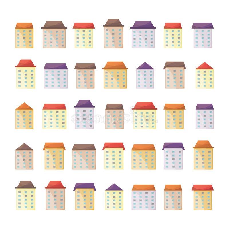 Wektorowi śliczni budynki i domy ustawiający w mieszkaniu projektują ilustracji