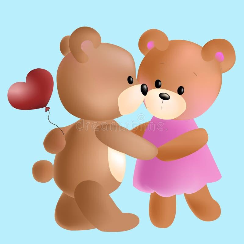 Wektorowi śliczni niedźwiedzie w miłości royalty ilustracja