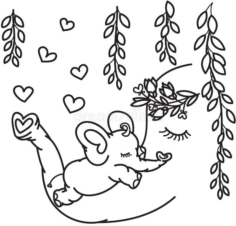 Wektorowi śliczni słonie, matka i dziecko, royalty ilustracja