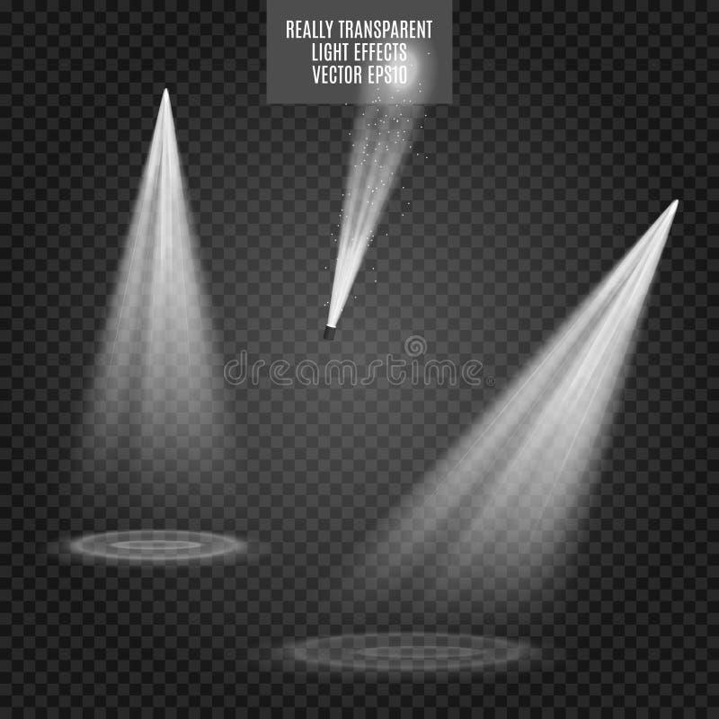 Wektorowi światła reflektorów skutków wielki światła przyjęcia występ Biała łuna Naprawdę przejrzysty skutek ilustracja wektor