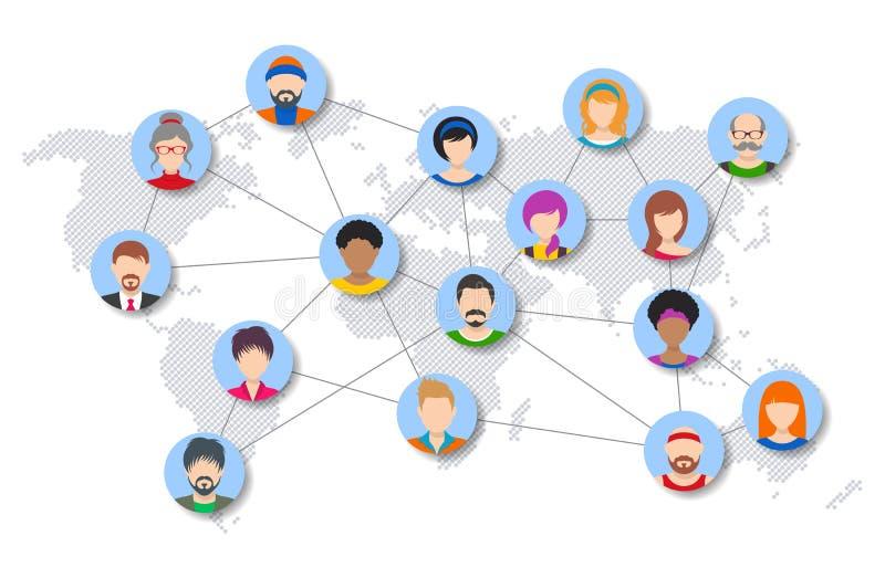 Wektorowi światowi ludzie sieć diagrama ilustracja wektor