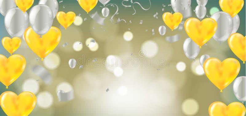 Wektorowi żółci serce balony Szczęśliwy walentynka dzień, tło z realistycznym royalty ilustracja