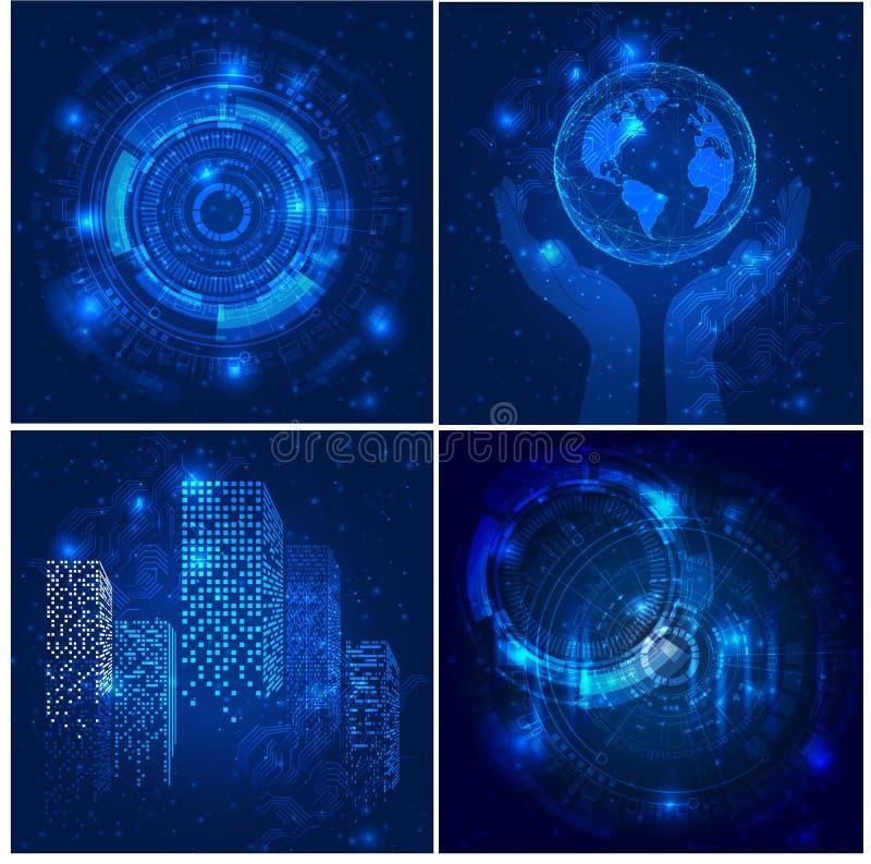 Wektorowi Abstrakcjonistyczni futurystyczni plakaty, Ilustracyjny wysoki informatyka zmrok - błękitny koloru tło ilustracji