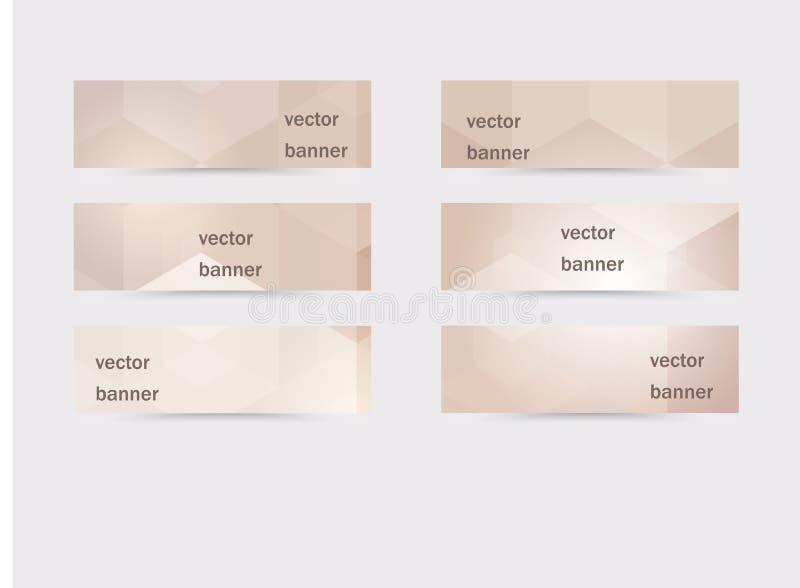 Wektorowi abstrakcjonistyczni horyzontalni sztandary inkasowi z geometrycznymi tło royalty ilustracja