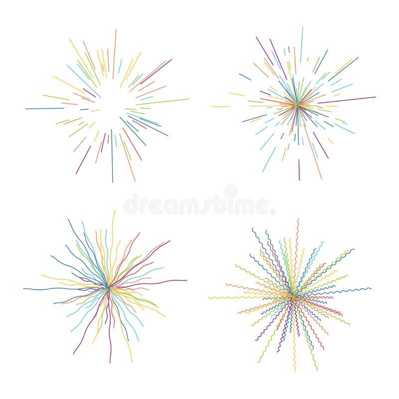 Wektorowi abstrakcjonistyczni promieniowi wybuchy kolorowy gwiazdowy wybuch ilustracja wektor