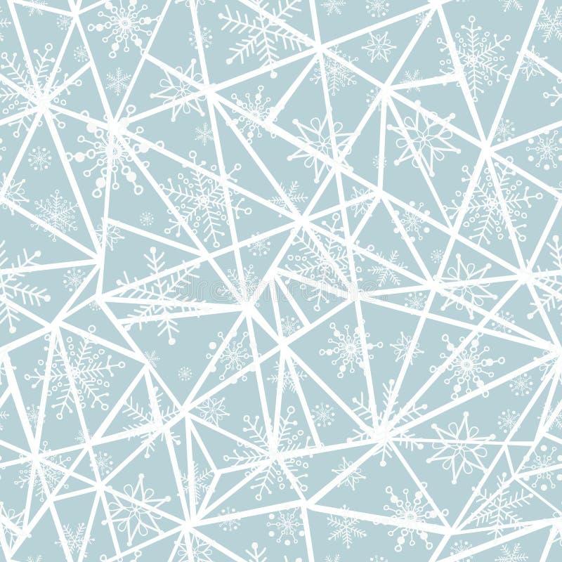 Wektorowi abstrakcjonistyczni srebni popielaci christmass płatki śniegu na trójbokach powtarzają bezszwowego deseniowego tło może ilustracji