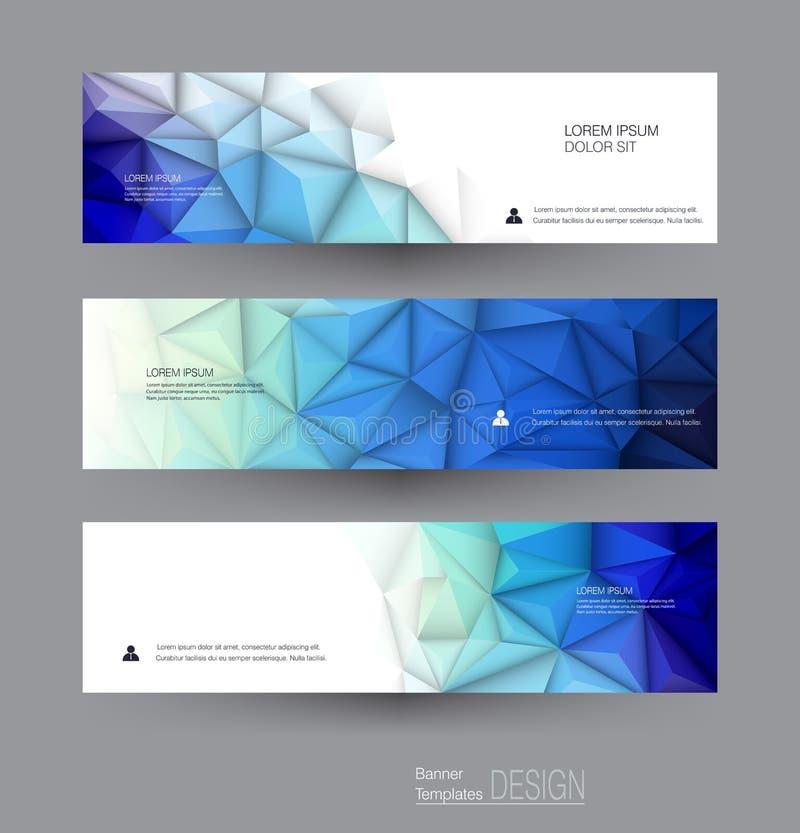 Wektorowi abstrakcjonistyczni sztandary ustawiający z poligonalnym, Geometryczny, trójboka wzoru kształt ilustracji