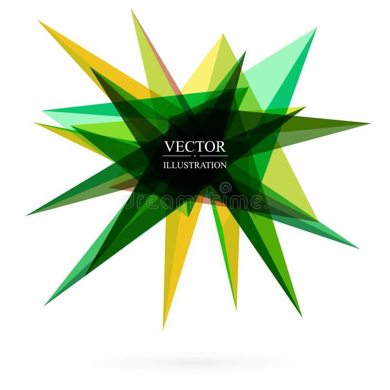 Wektorowi abstrakt zieleni trójboki, geometryczni kształty na bielu ilustracja wektor