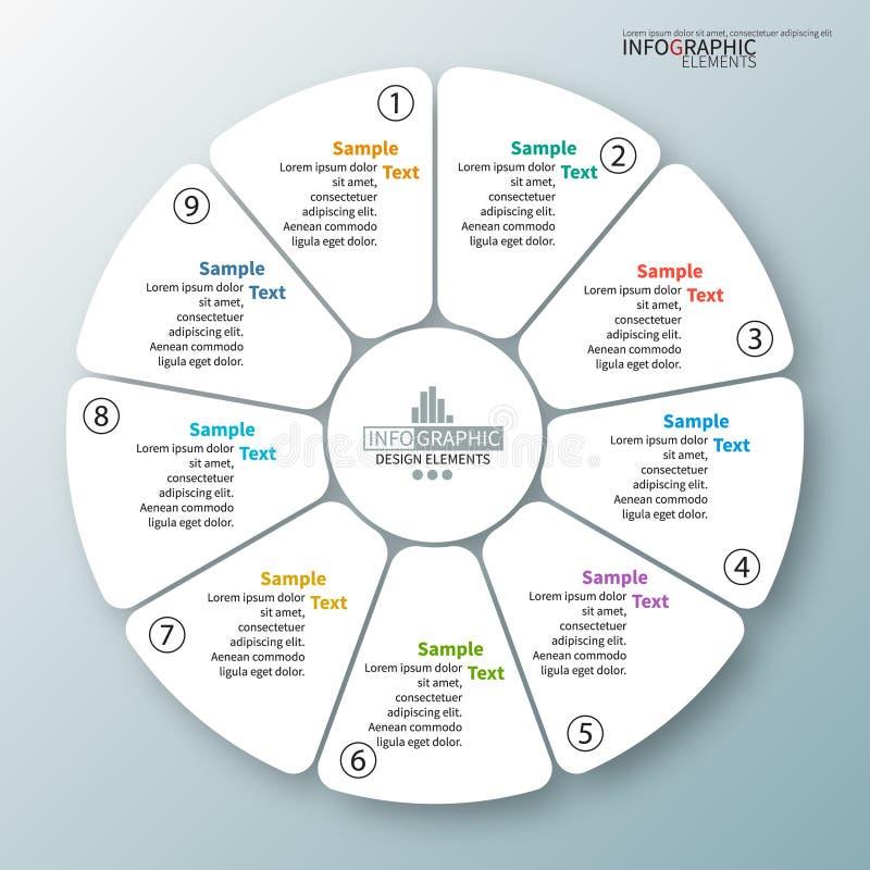 Wektorowi abstrakta 3d papierowi infographic elementy Kółkowy infographics ilustracji