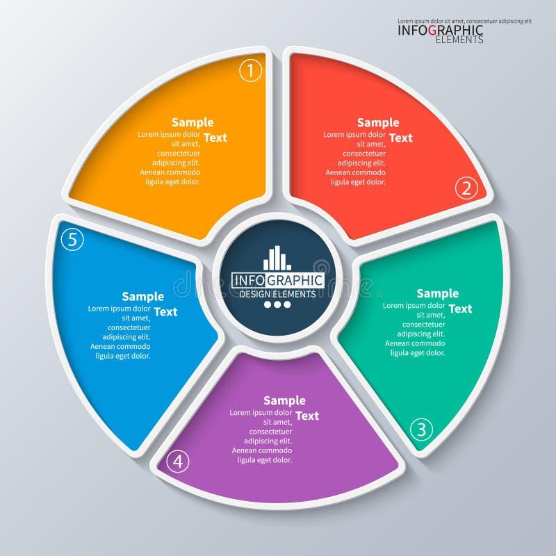 Wektorowi abstrakta 3d papierowi infographic elementy Kółkowy infographics royalty ilustracja