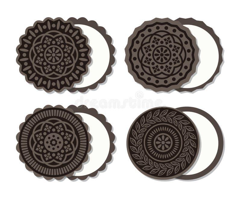 Wektorowi amerykańscy czekoladowi ciastka z śmietanką ilustracji