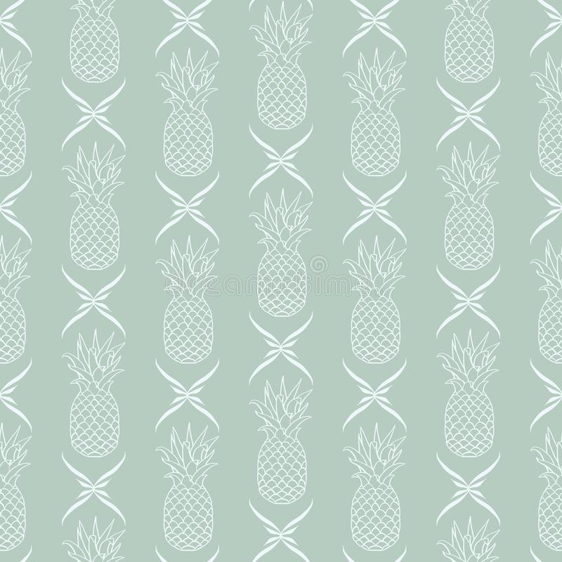 Wektorowi ananasy w linii z Kwiecistego wystroju bezszwowym deseniowym tłem royalty ilustracja