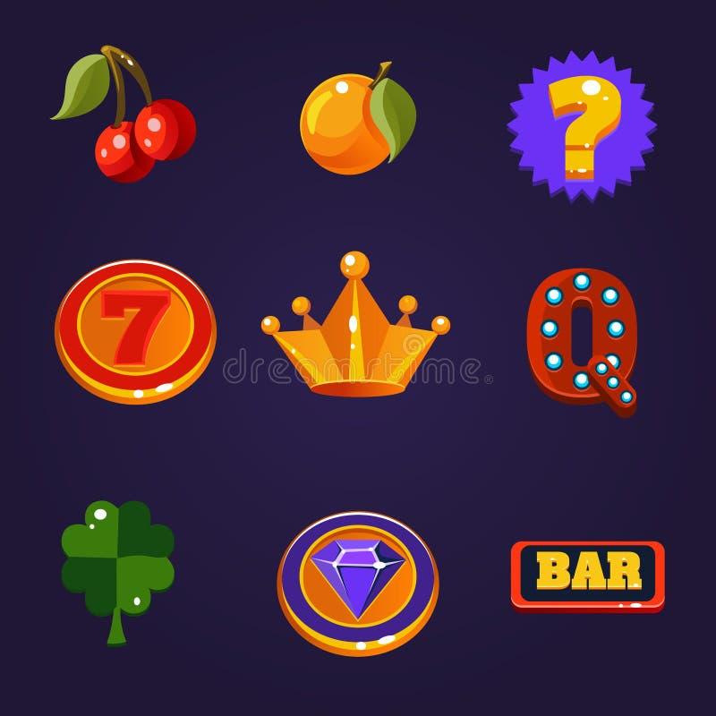 Download Wektorowi Automat Do Gier Symbole Ustawiający Ilustracja Wektor - Ilustracja złożonej z winorośl, kasyno: 53782384